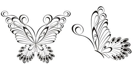 Vecteur de papillons noir et blanc