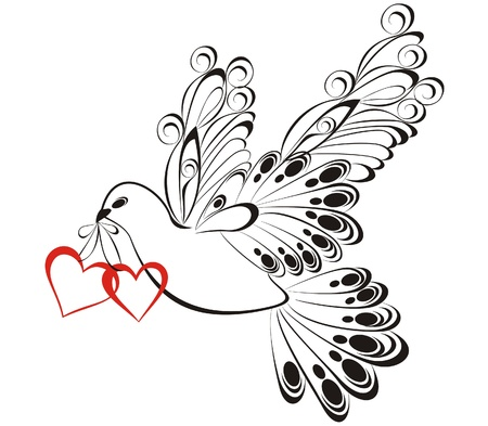 heart wings: Dove with heart Illustration