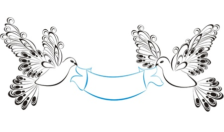 Ribbons with birds Vector