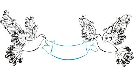 dove bird: Ribbons with birds
