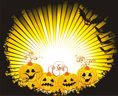 Halloween night  Grungy Halloween frame with pumpkin and bats Vector