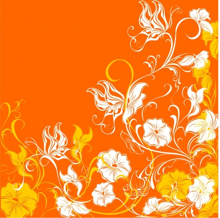 copy spase: Floral pattern with butterfly