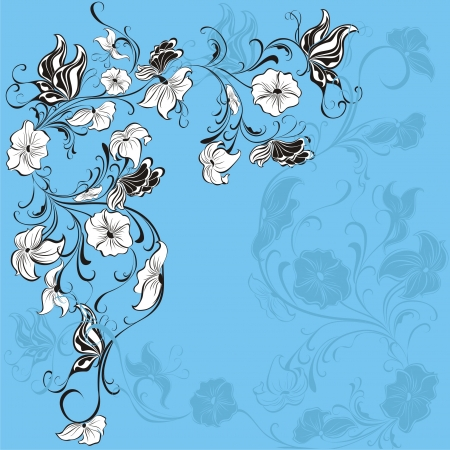 grass silhouette: Floral pattern with butterfly