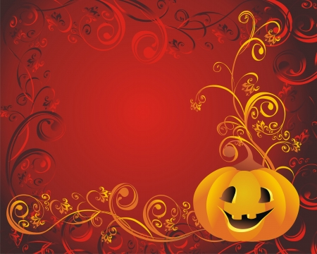 scroll background: Halloween pumpkin Illustration