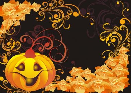 orange swirl: Vector halloween background