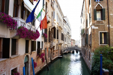 Canal and old bridge in Venice