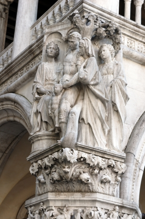 saint marco: Column capital at Doge s Palace in Venice shows architectural details of the Judgment of Solomon  Stock Photo