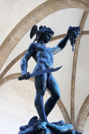 Perseus with the head of Medusa Gorgon in Loggia Lanzi, Piazza della Signoria, Florence, Italy