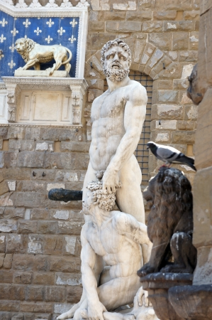 Statue of Hercules and Cacus by Bandinelli in front of Palazzo Vecchio in Florence, Italy