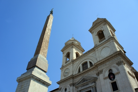 trinita: Church of Trinita dei Monti and Spanish Steps in Rome, Italy Stock Photo