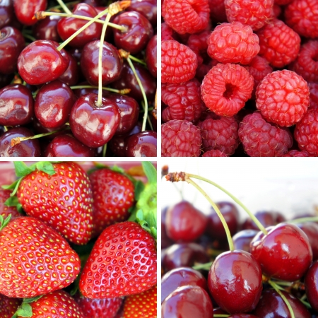 Fresh ripe berries - strawberry, cherry, raspberry, Collage of four photos photo