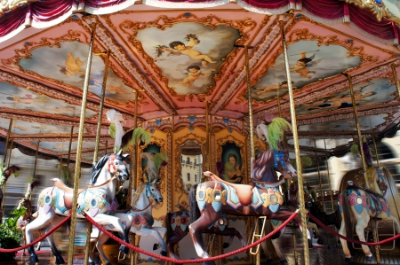 carousel horse: Horse rides on a merry-go-round carousel Editorial