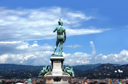 David Statue at Piazzale Michelangelo and panoprama Florence, Italy photo