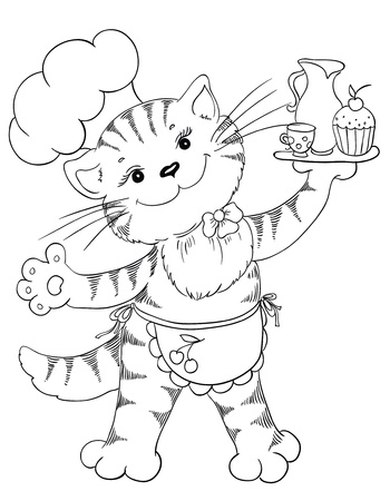 cook book: Cartoon cat chef with cupcake and coffee Illustration