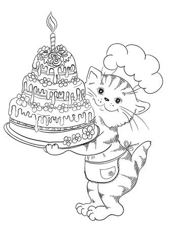 Cartoon Katze K�chenchef mit Kuchen