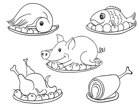 白と黒のさまざまな一般的な肉製品は白で隔離されます。  イラスト・ベクター素材
