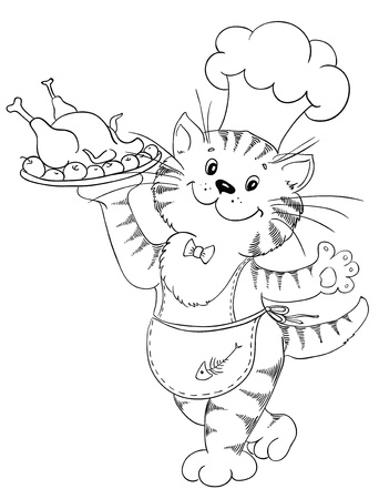 Cartoon cat chef with grilled chicken on a tray Vector