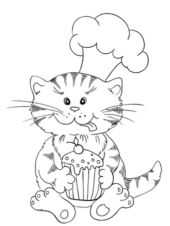 Cartoon cat chef with cupcake Vector