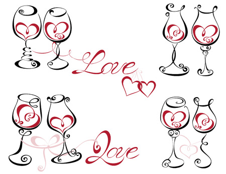 Wine glass with red wine in a heart shape  Illustration