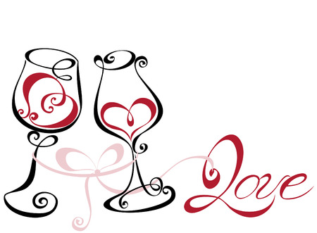 Wine glass with red wine in a heart shape Vector
