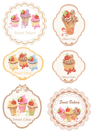 Collection of retro various cupcakes labels  Illustration