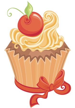 Vector sweet cupcake isolated on a white  Vector