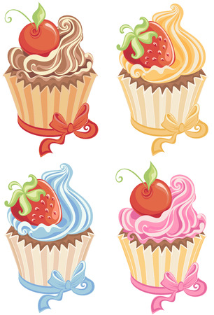 Set cupcakes isolated on white   Vector