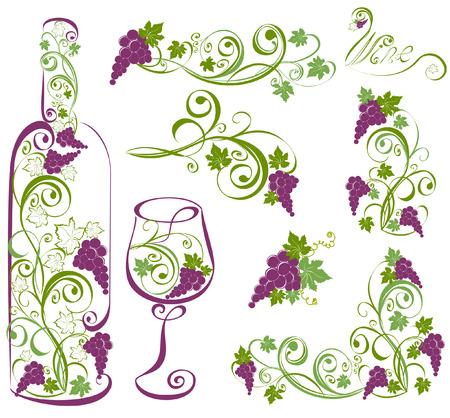 포도 와인 병, 와인 잔