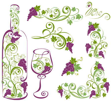 Wine bottle and wineglass with grapevines