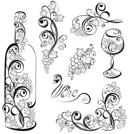 bouteille de vin: Bouteille de vin et verre � vin avec des vignes Illustration