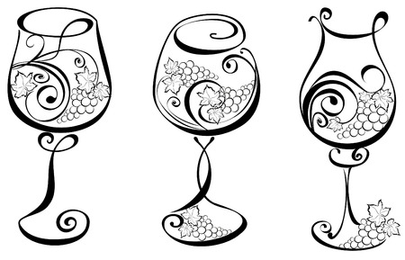 Wine glass with grapevines  Vector wine design elements   Illustration