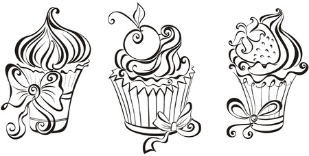 Set of black and white cupcakes Vector