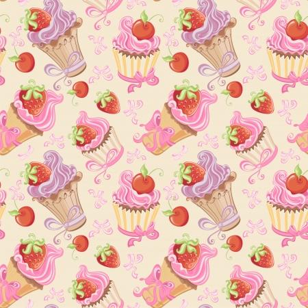カップケーキ、いちご、チェリーとのシームレスなパターン