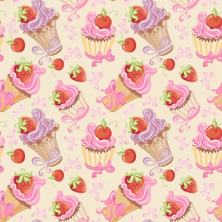 cartoon: Seamless pattern with cupcakes, strawberry and cherry