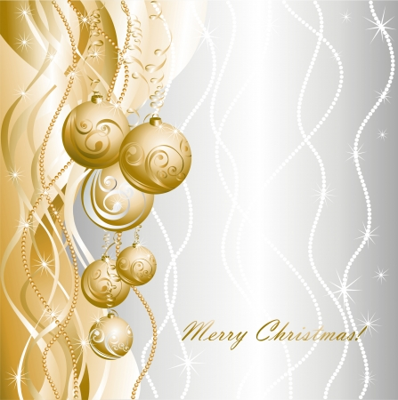 shimmery: Christmas card with golden evening balls