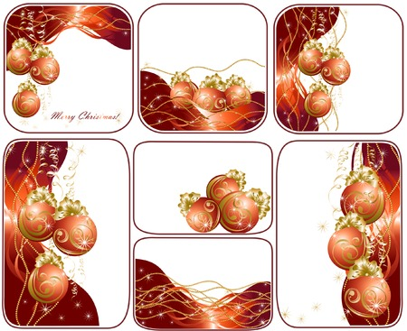 red evening: Set christmas background with red evening balls Illustration