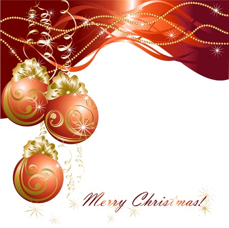 Christmas card with red evening balls Vector