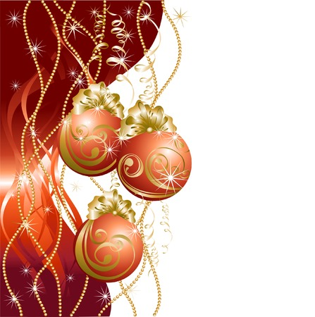 red evening: Christmas card with red evening balls