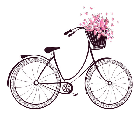 basket: Bicycle with a basket full of flowers and butterflies