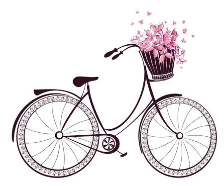 fiets: Fiets met een mand vol bloemen en vlinders Stock Illustratie