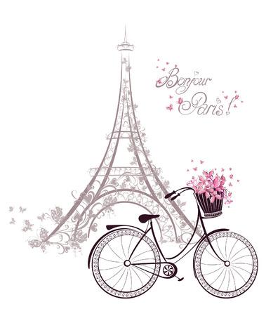 Bonjour Paris tekst met toren eiffel en fiets. Romantische postkaart uit Parijs. Vector illustratie.