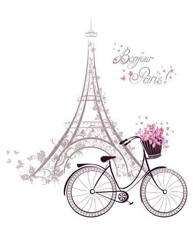 tower: Bonjour Paris text with tower eiffel and bicycle. Romantic postcard from Paris. Vector illustration.