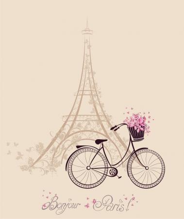torre: Bonjour texto de París con la torre Eiffel y de la bicicleta. Postal romántica de París. Ilustración del vector. Vectores