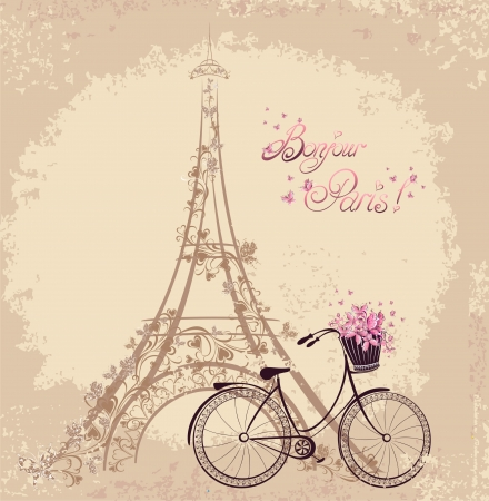 タワーエッフェルと自転車でボンジュールパリのテキスト。パリからのロマンチックなポストカード。ベクトルイラスト。