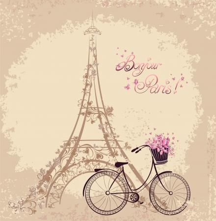 타워 에펠 및 자전거와 봉쥬르 파리 텍스트입니다. 파리에서의 로맨틱 한 엽서. 벡터 일러스트 레이 션.