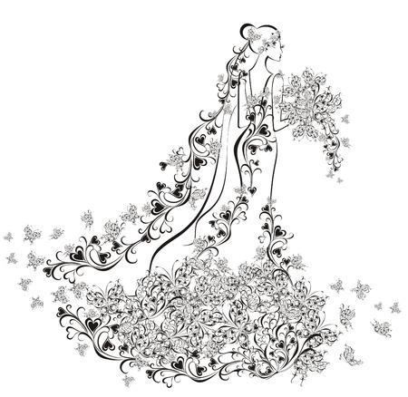 결혼식 배경 - 꽃 무늬 드레스의 신부 일러스트