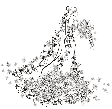 Fondo de la boda - la novia en vestido de flores