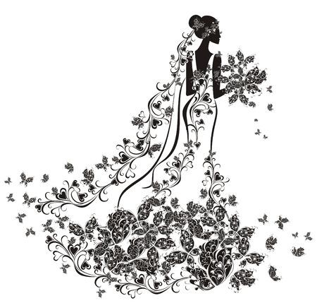 siluetas de animales: Fondo de la boda - la novia en vestido de flores Vectores