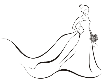 Bride in wedding dress Vector