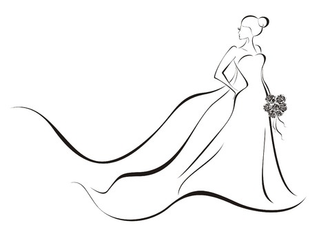 Bruiloft achtergrond - bruid in bloemen jurk Vector Illustratie